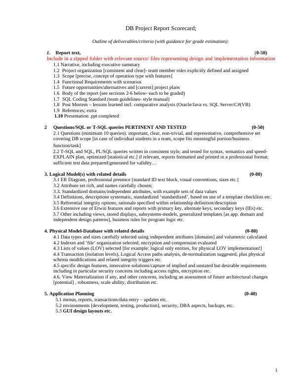 DB Project Report Scorecard;.