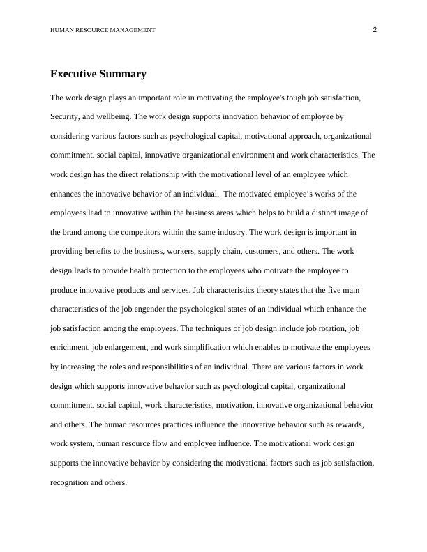 Human Resource Management Assignment - Work Design