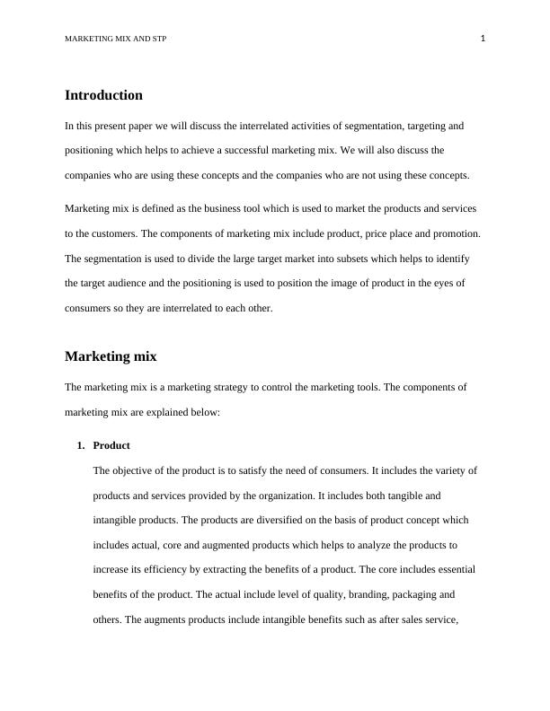Paper on Marketing Mix and STP