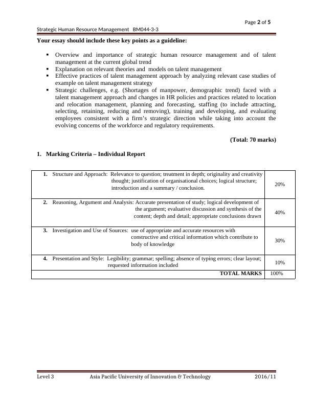 Assignment: Strategic Human Resource Management