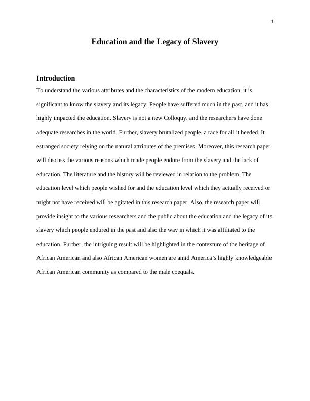 Education and the Legacy of Slavery: Research Paper