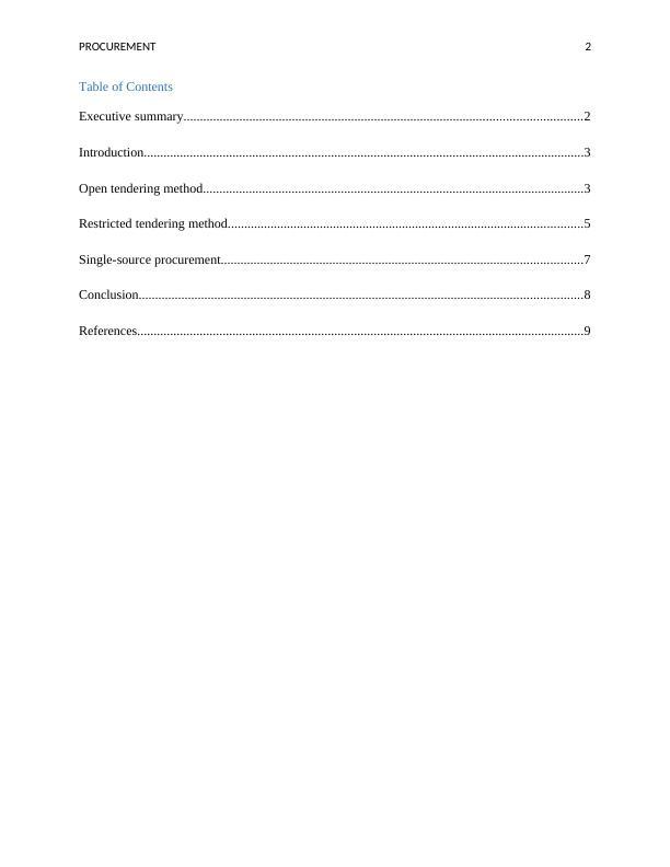 Procurement Process Assignment