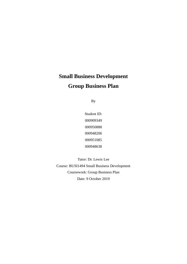 Small Business Development.