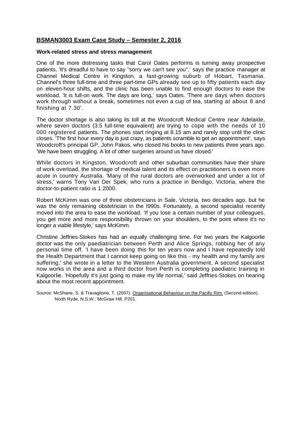 BSMAN3003 Exam Case Study – Semester 2, 2016.