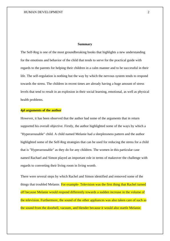Report On Human Development | Self-Regulation
