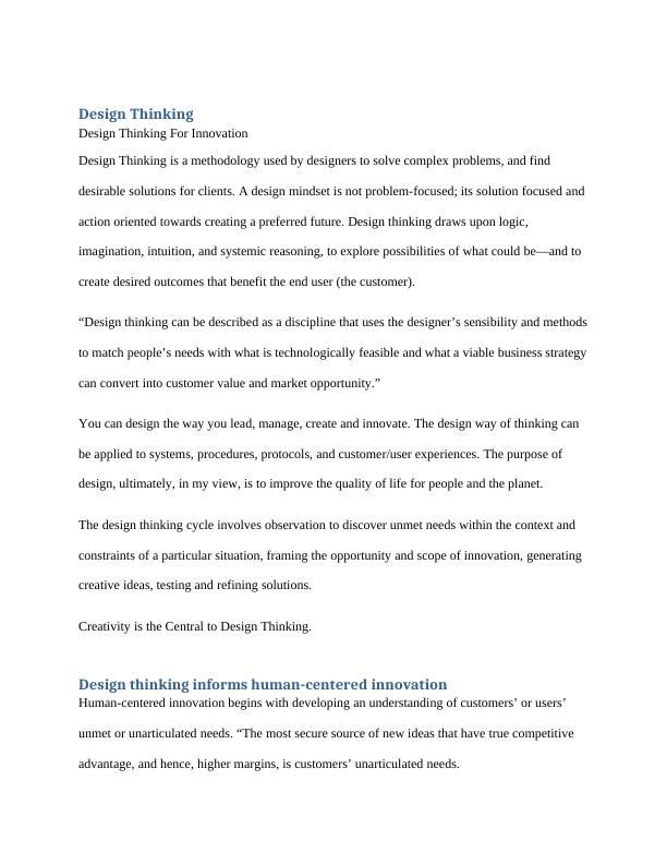 Study Of Design Thinking | Assignment