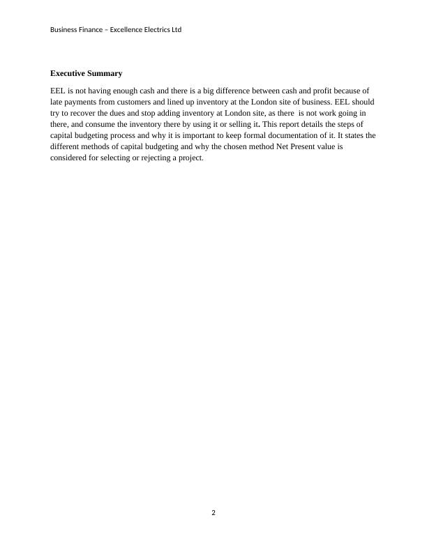 Business Finance Assignment – Excellence Electrics Ltd