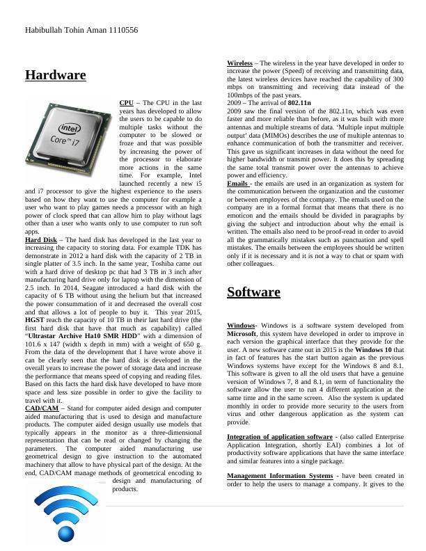 Weekly Newsletter on Computer Hardware Assignment
