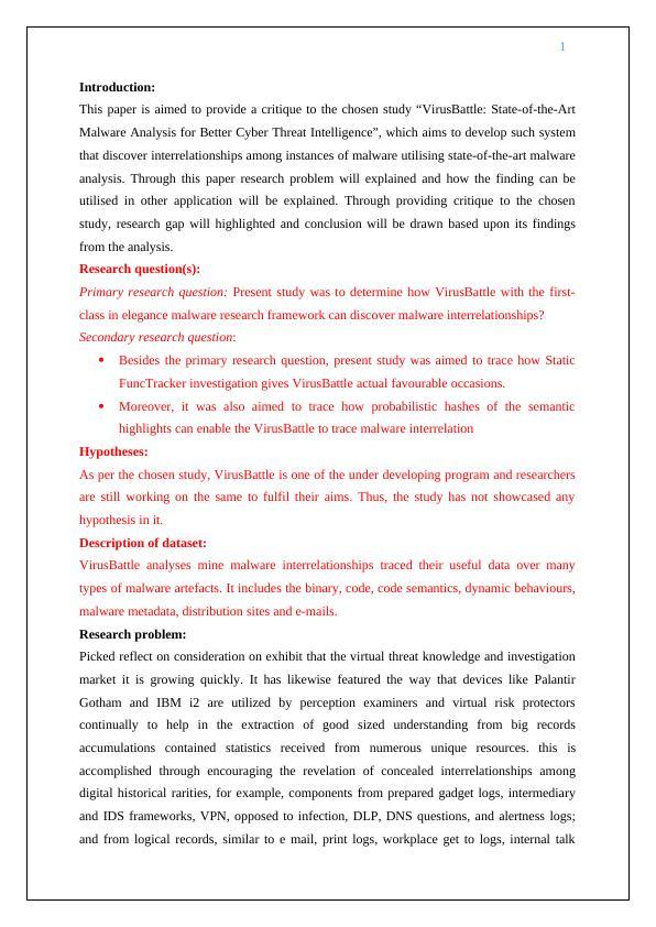Paper on Study of VirusBattle