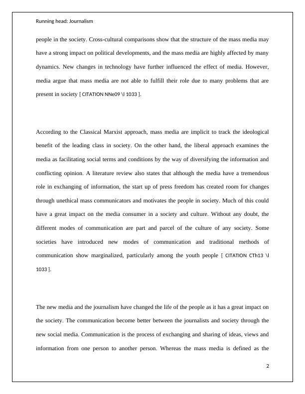 Reserach Essay: Effects of Journalism and Social Media on Society