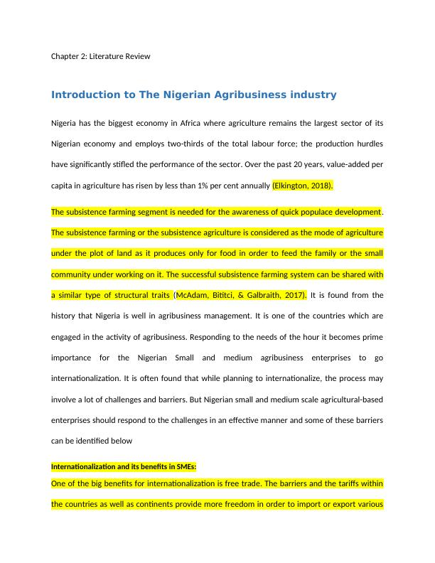 Nigerian Agribusiness Industry: Assignment