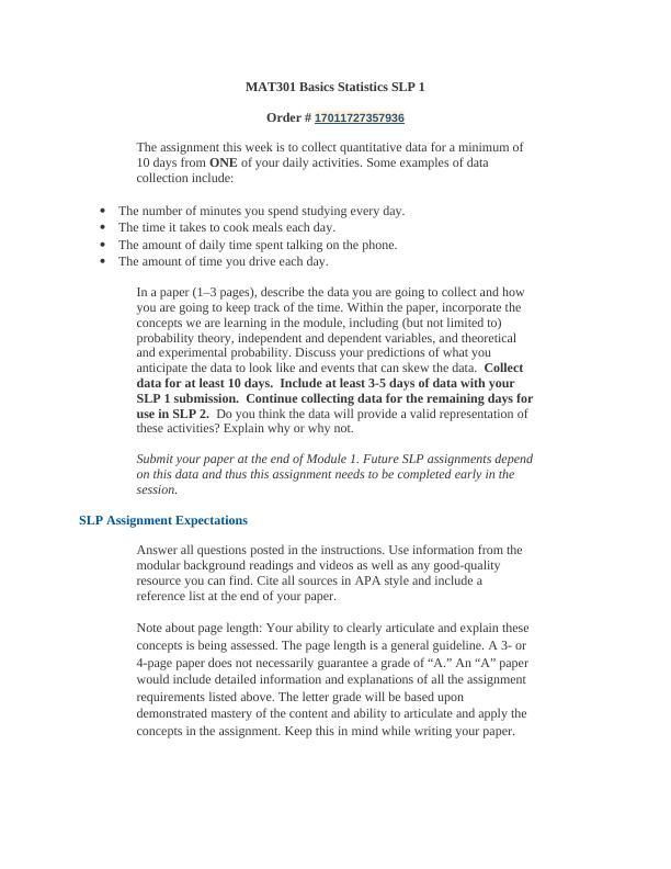 MAT301 Basics Statistics SLP 1.