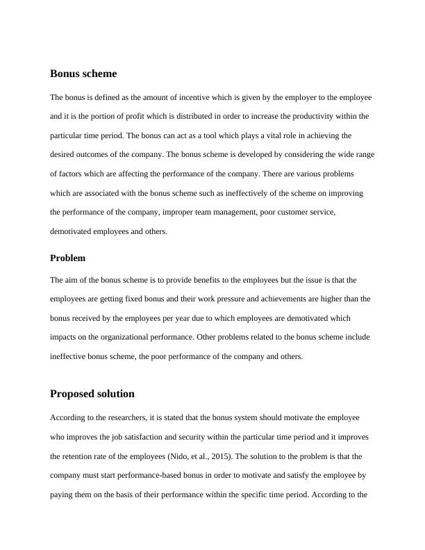 CERA's Bonus Scheme Assignment