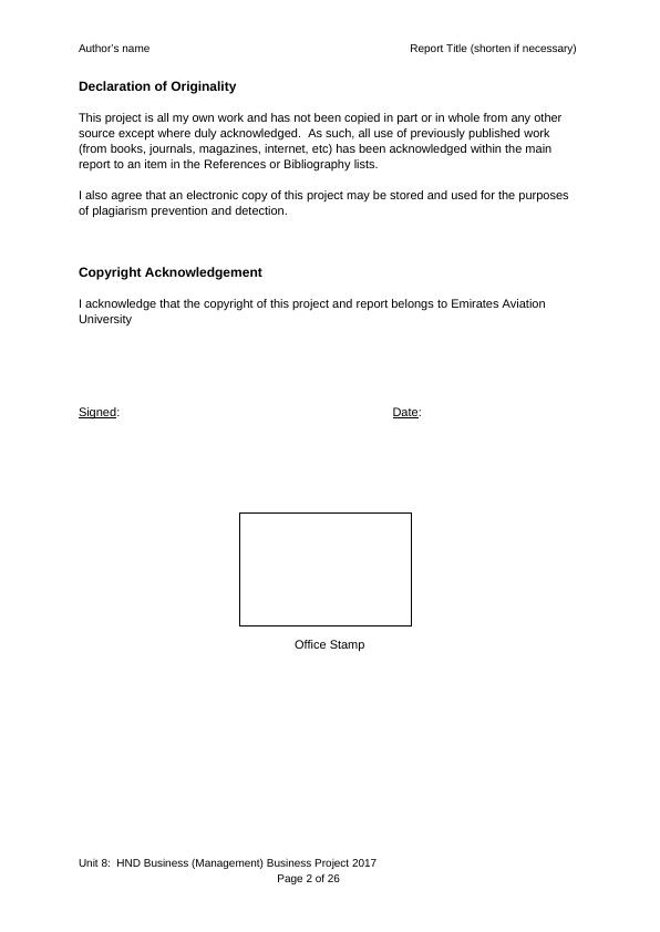 Unit 8: HND Business Management- Business Research Project