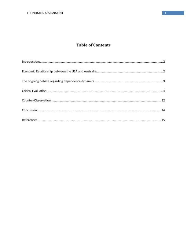 BUS700 Economics Paired Assignment