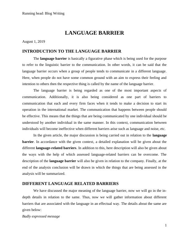 Blog Writing on Language Barrier