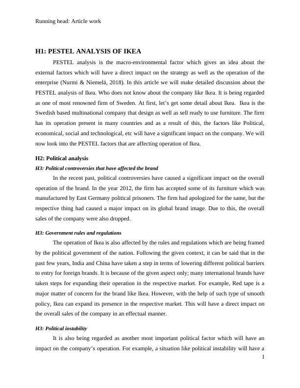 Article on PESTEL analysis of Ikea