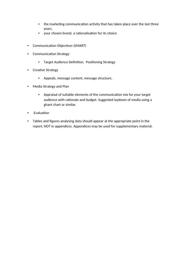 BM6601 Marketing Communications Group Assignment Structure