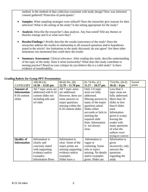 Critiquing a Qualitative Study Assignment