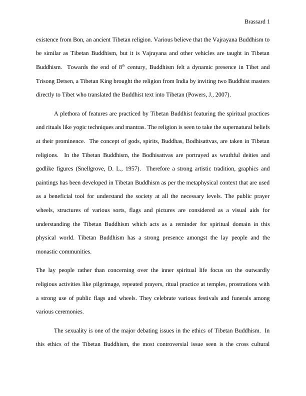 Brassard 7. Ethics in Tibetan buddhism. [Document subti