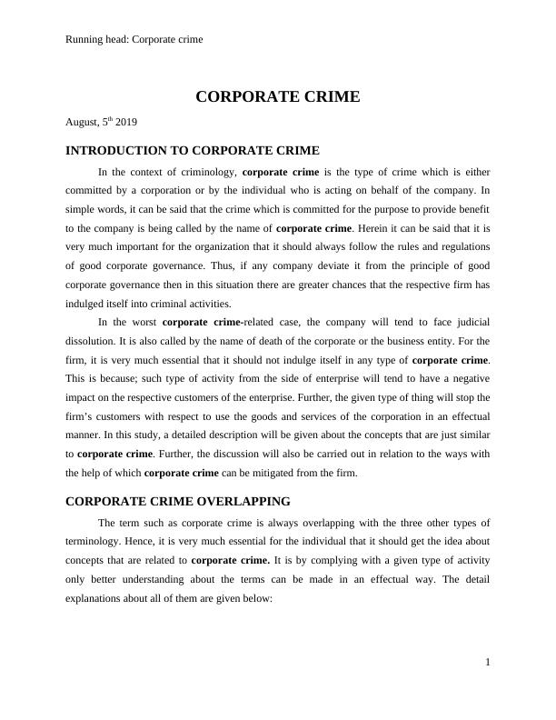 Corporate Crime Assignment