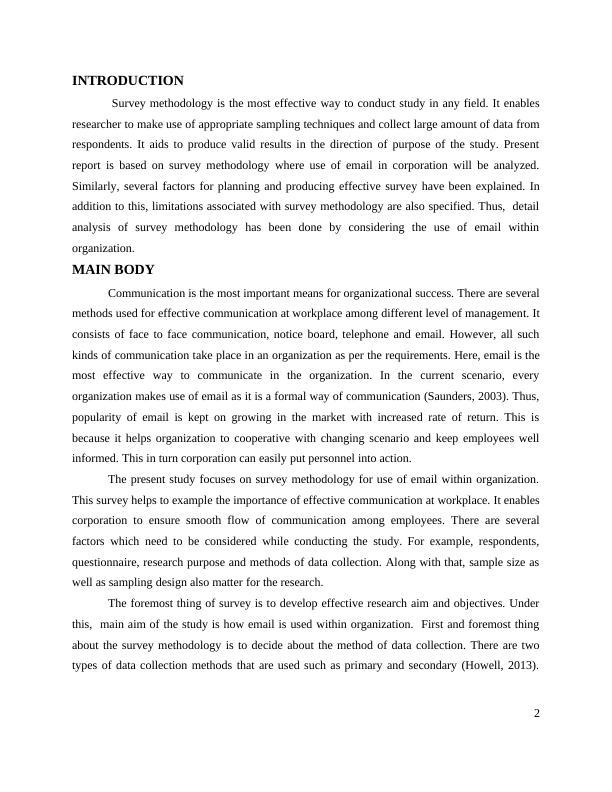 Survey Methodology Report