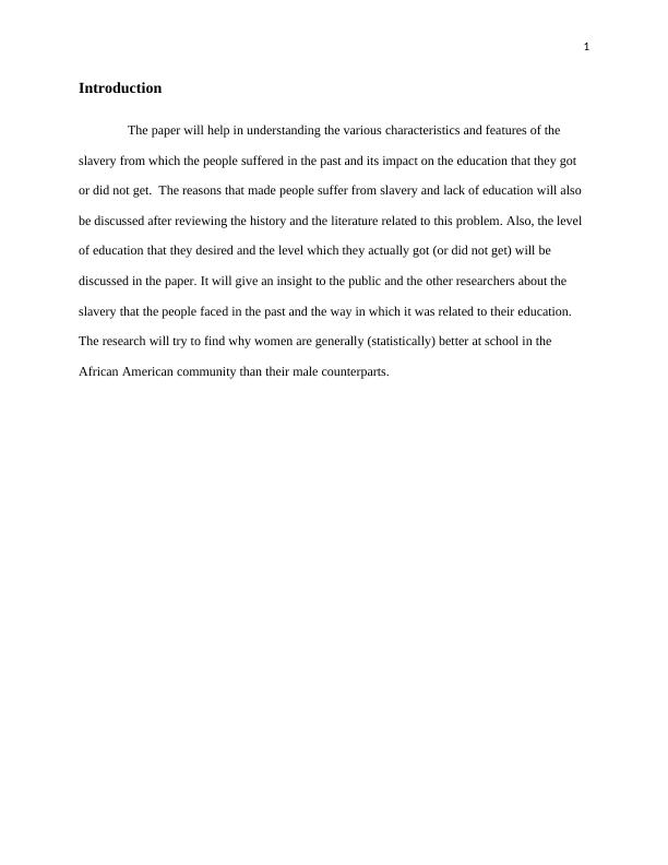 Compatibility Between Slavery and Education | Research Proposal