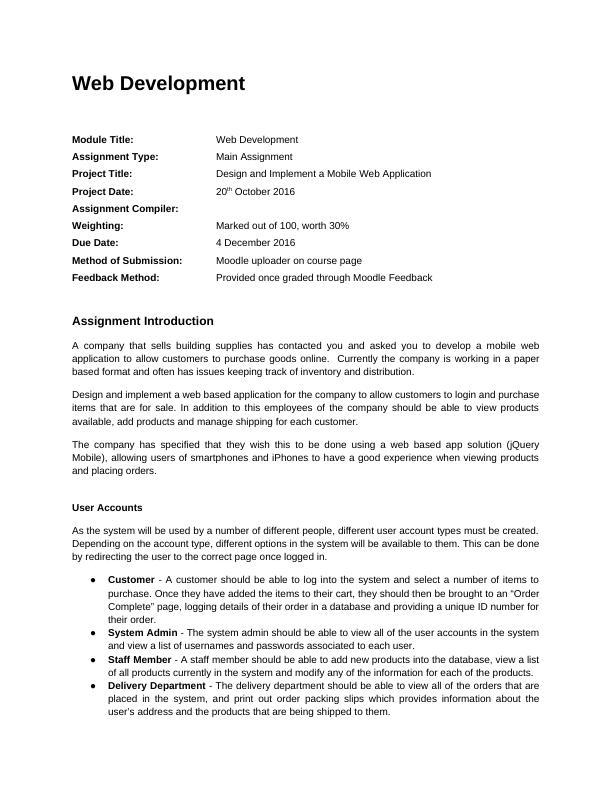 Web Development Assignment Mobile Web Application