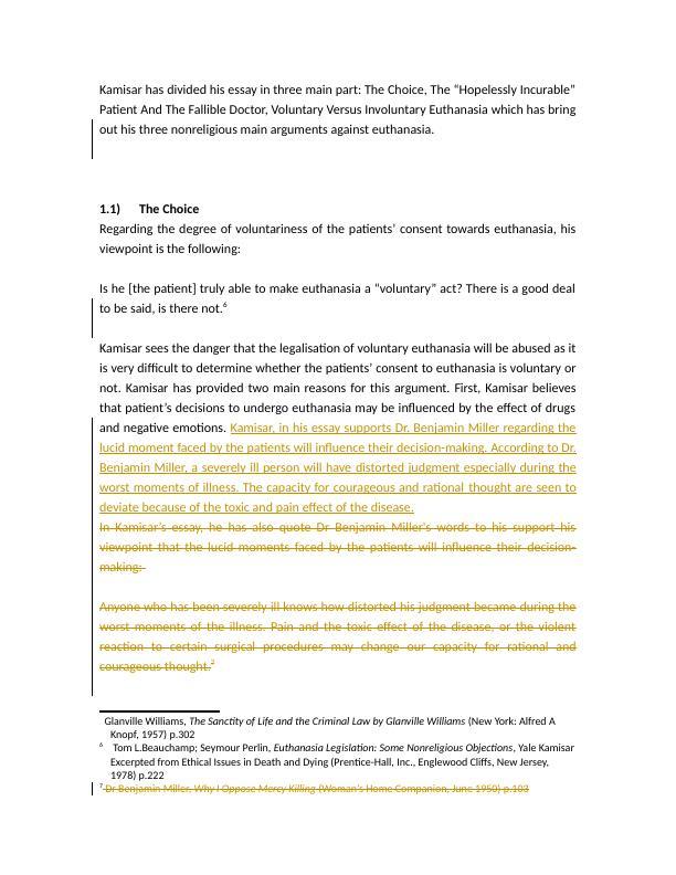 Kamisars Arguments Against Euthanasia