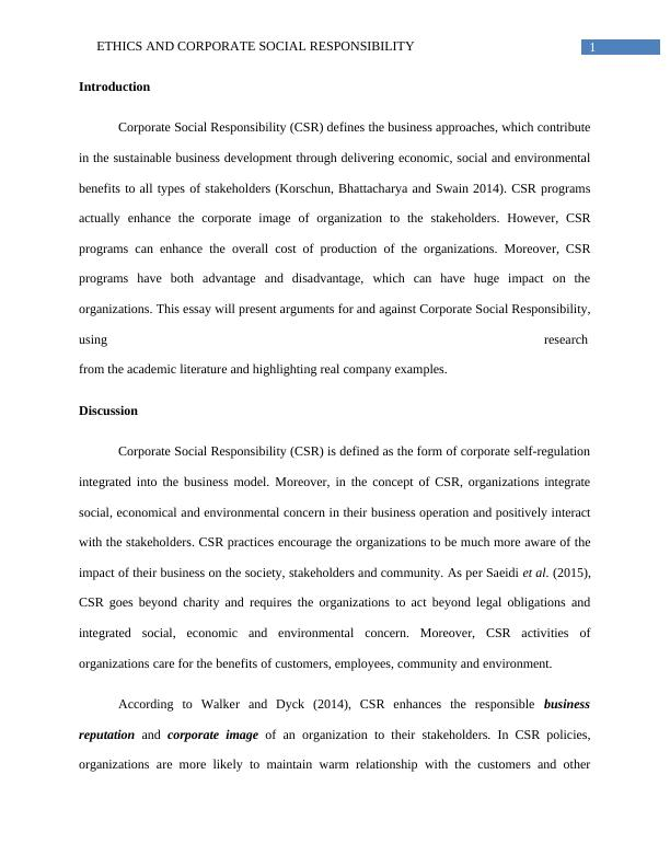 Ethics and Corporate Social Responsibility - Essay