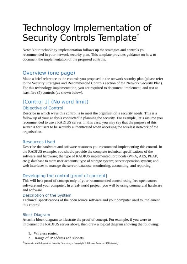 Technology Implementation Of Security Controls Template
