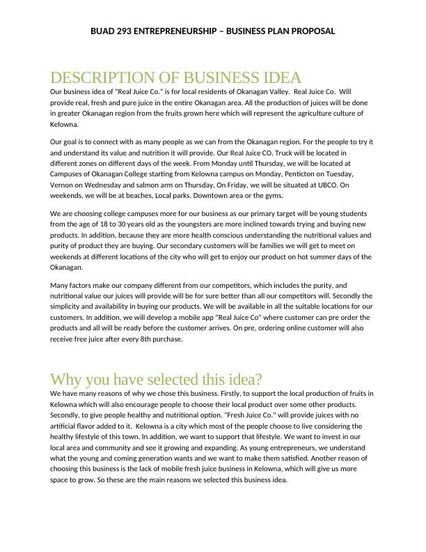 BUAD 293 Entrepreneurship Business Plan Proposal