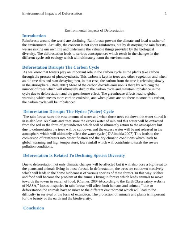 Environmental Impacts of Deforestation: Assignment