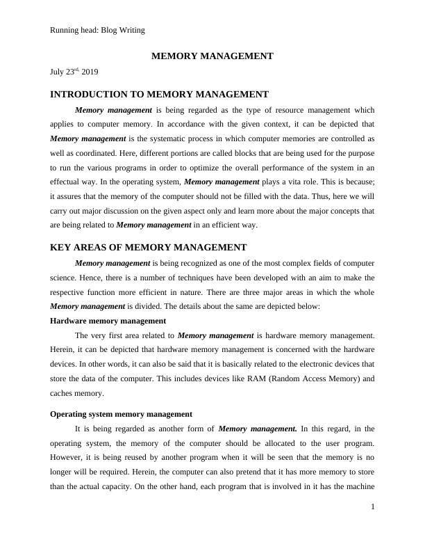 Memory Management | Assignment