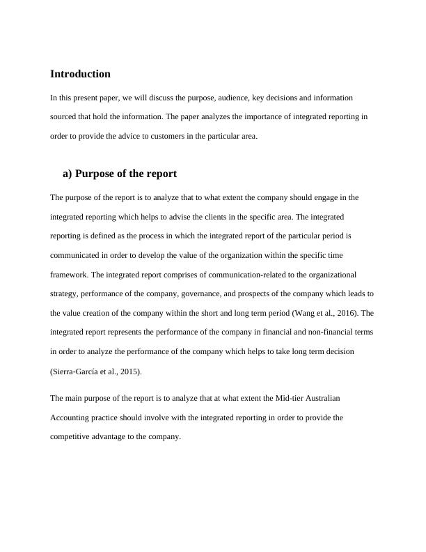 Report on Analyze Integrated Reporting