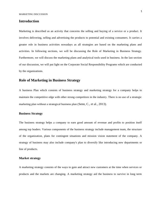 Role of Marketing in Business Strategy- Doc