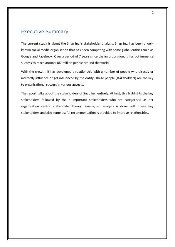 Study Analysis Snap Inc.'s Stakeholder Analysis