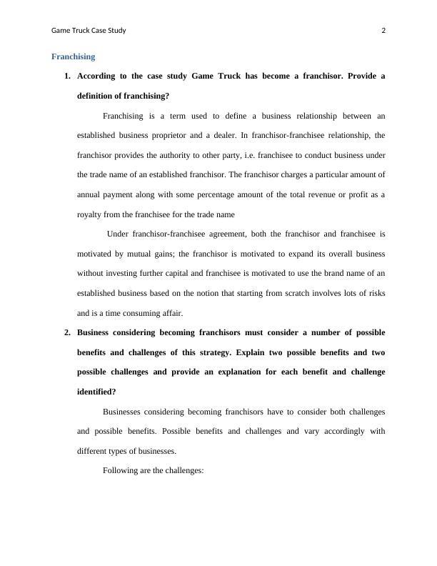 Case Study on Franchisor: Game Truck