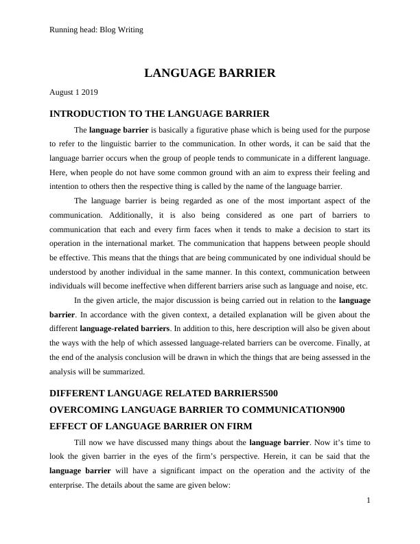 Blog Writing. LANGUAGE BARRIER. August 1 2019. INTRODUC