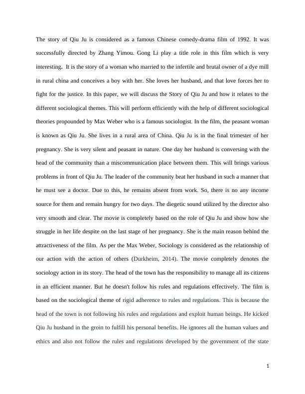 Story of Qiu Ju (1992).
