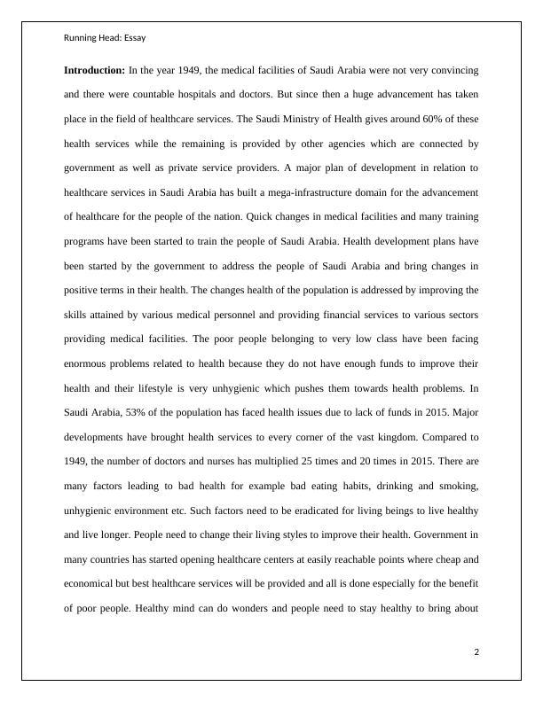 Essay on Population Health
