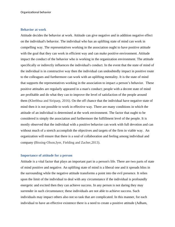 Organizational behavior Assignment PDF