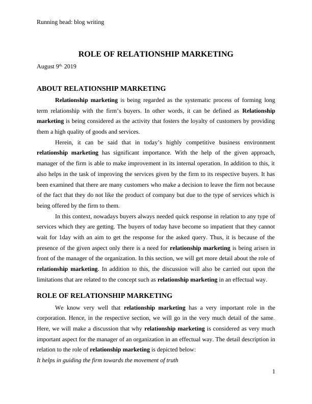 Relationship Marketing- Blog