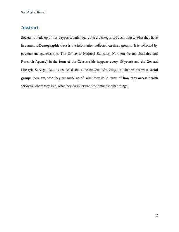 Sociological Report.