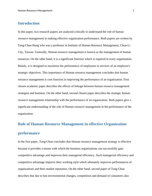 Human Resource Management: Research Paper