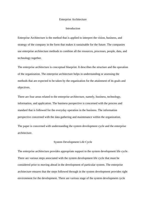 Enterprise Architecture- Introduction