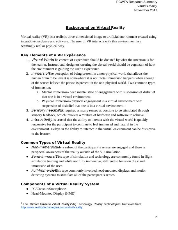 Virtual Reality (VR) Assignment