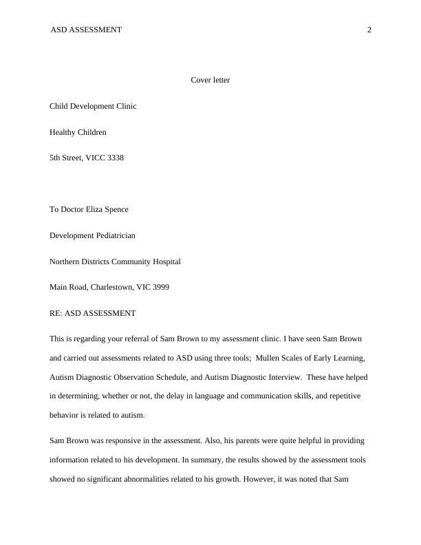 Cover Letter on Child Development Clinic Healthy Children