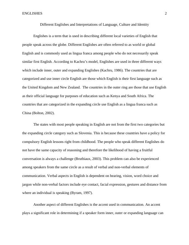 Englishes and Interpretations of Language, Culture and Identity Assignment