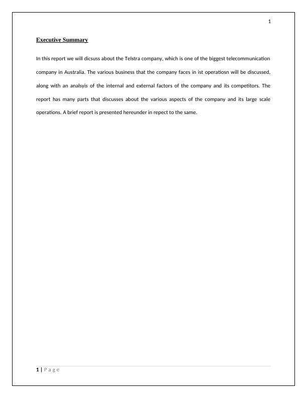 Company Analysis Report Telstra Company